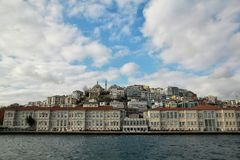Houses on the waterfront. Istanbul beach view from the sea. Houses on the waterfront. Istanbul beach view from the Bosporus strait, Turkey Royalty Free Stock Photography