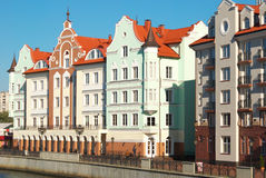 Houses on the waterfront in Kaliningrad Royalty Free Stock Photos