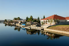 Houses waterside, Padre Island, southern Texas Royalty Free Stock Images