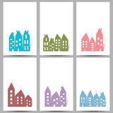 Houses on white cards Royalty Free Stock Photo