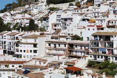 Close up of Mijas Pueblo white village in Spain. Houses in the white village of Mijas Pueblo in Malaga region, Spain stock photos