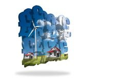 Houses with wind turbines on abstract screen Stock Photography