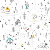 Houses in winter forest seamless pattern with animals and colorf Royalty Free Stock Image