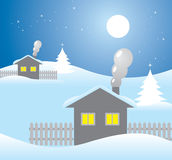 Houses on a winter night. A vector illustration of winter snowy night landscape with houses Royalty Free Stock Photo