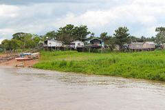 Amazon river houses on stilts in Amazonas, Brazil Stock Image