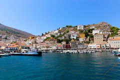 Houses and yachts of Greece island Stock Photos