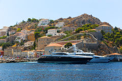 Houses and yachts of Greece island Royalty Free Stock Photo