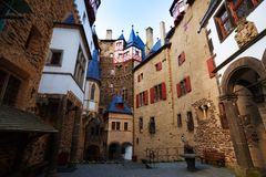 Houses in the yard of Eltz castle, Germany Royalty Free Stock Photos