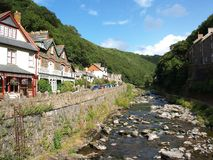 Housesbeside East Lyn River at Lynmouth. East Lyn River at Lynmouth Devon royalty free stock photo