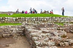 Housesteads Roman Fort. NORTHUMBERLAND, ENGLAND - JULY 7, 2012: The remains of Housesteads Roman Fort, part of Hadrian`s Wall in Northumberland, England Royalty Free Stock Photography