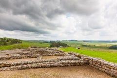 Housesteads Roman Fort. NORTHUMBERLAND, ENGLAND - JULY 7, 2012: The remains of Housesteads Roman Fort, part of Hadrian,s Wall in Northumberland, England Stock Image