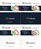 Housetop business card 1. Auction and real estate business cards, dark blue, green and red colors, home cards Stock Images
