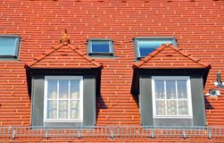 Housetop with gabled windows Royalty Free Stock Image