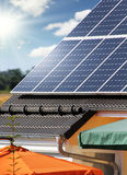 Housetop with solar. Housetop with any solar panels Stock Photography