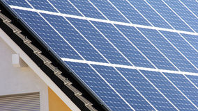 Housetop with solar. Housetop with any solar panels Royalty Free Stock Image