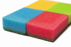 Houseware Concept: Four Colorful Kitchen Sponges Together. Isola Royalty Free Stock Photos