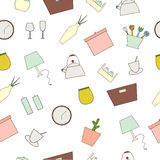Houseware seamless pattern. Homewares line icons on a white background. Home design vector elements Stock Photos