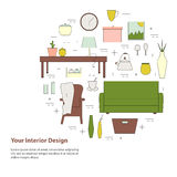 Housewares  elements. Interior design round concept. Royalty Free Stock Image