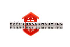 Housewarming message with red home.  vector illustration