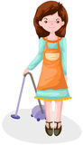 Housewife. Illustration of isolated housewife using vacuum on white Royalty Free Stock Photos