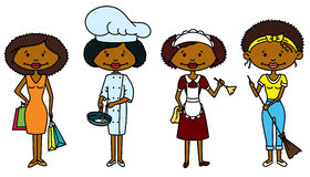 Housewife. Cute African-American Housewife (color version Stock Photos