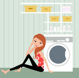 Housewife. Vector illustration of young girl in the kitchen Stock Photography