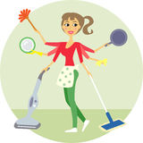 Housewife. Of all trades, washing and cleaning  illustration Royalty Free Stock Photo