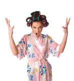 Housewife is angry Royalty Free Stock Photo