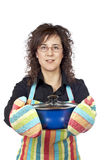Housewife in apron Royalty Free Stock Images