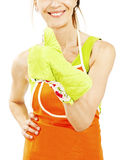 Housewife with apron and oven mitt showing thumbs up gesture Stock Photo