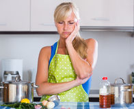 Housewife in apron standing at table Stock Photography