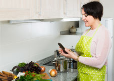 Housewife in apron taking photo of dinner indoors Stock Photography