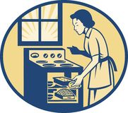 Housewife Baker Baking in Oven Stove Retro stock illustration