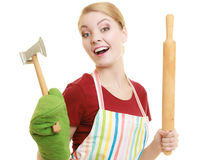 Housewife or baker chef holds kitchen utensil Royalty Free Stock Photography