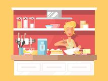 Housewife bakes cake Royalty Free Stock Image