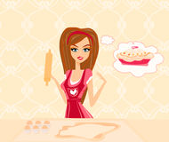 Housewife bakes cakes and cookies Royalty Free Stock Photos