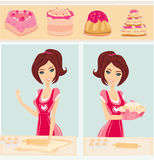 Housewife bakes cakes and cookies Royalty Free Stock Photography