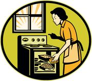 Housewife Baking Bread Pastry Dish Oven Royalty Free Stock Image