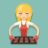 Housewife with baking and cookies cartoon character design vector illustration Stock Photo