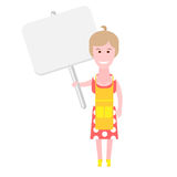 Housewife with banner Stock Photography