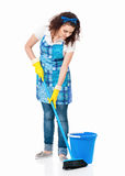 Housewife with blue bucket and broom Royalty Free Stock Image