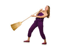 Housewife with broom isolated on white Royalty Free Stock Image