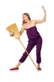 The housewife with broom isolated on white Royalty Free Stock Photography