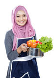 Housewife carrying a pan full of vegetables Stock Image