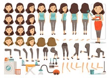 Housewife. Character creation set.Icons with different types of faces and hair style, emotions,front,rear,side view of female person.Moving arms,legs.Vector Royalty Free Stock Image