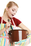Housewife or chef kitchen apron with pot of soup and ladle Royalty Free Stock Photo