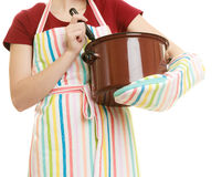 Housewife or chef kitchen apron with pot of soup and ladle Royalty Free Stock Images