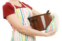 Housewife or chef kitchen apron with pot of soup and ladle Royalty Free Stock Image