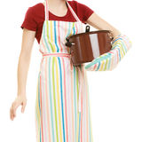 Housewife or chef kitchen apron with pot of soup and ladle Stock Photos