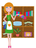 Housewife cleaning. Illustration isolated on white Stock Image